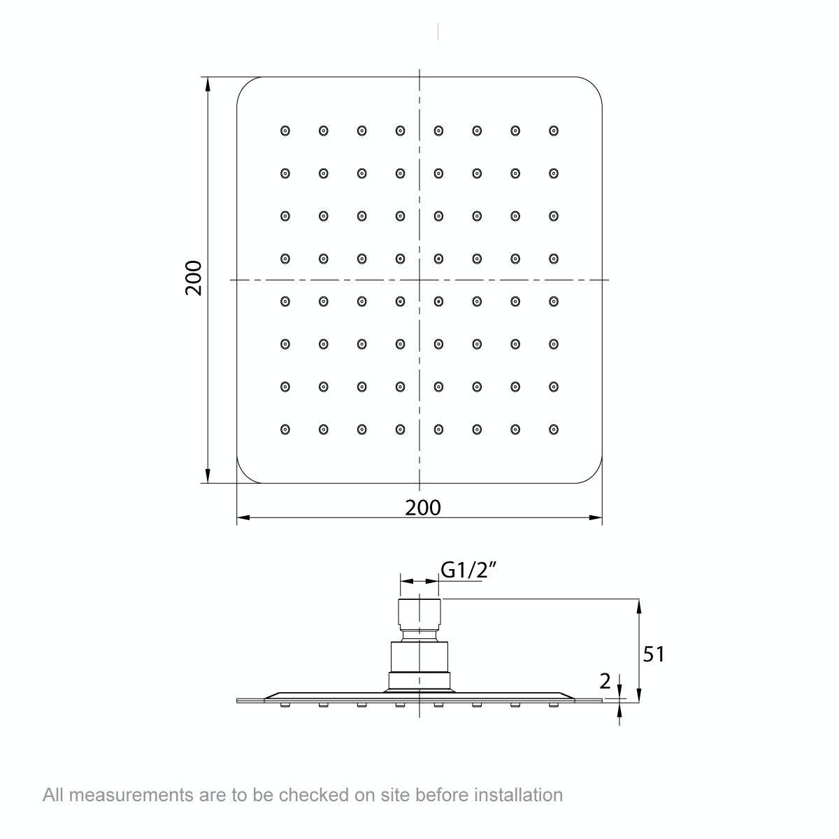 Dimensions for Mode Renzo square slim stainless steel shower head 200mm