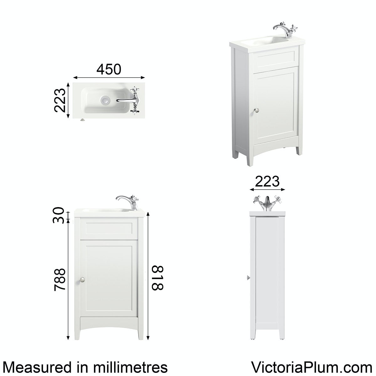 Dimensions for The Bath Co. Camberley white cloakroom vanity with resin basin