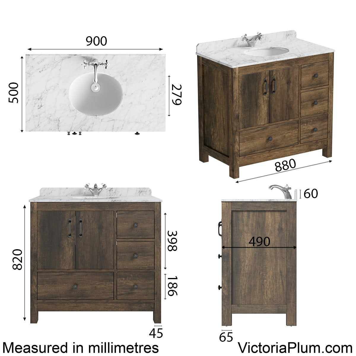 Dimensions for The Bath Co. Dalston vanity unit and white marble basin 900mm