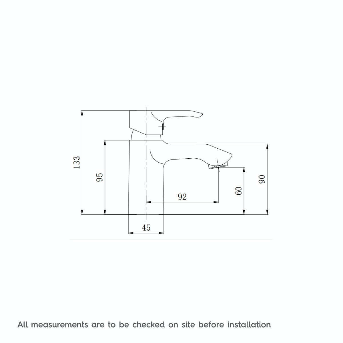 Dimensions for Orchard Wave basin mixer tap