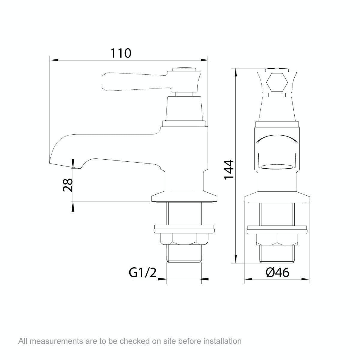 Dimensions for The Bath Co. Beaumont lever basin pillar taps