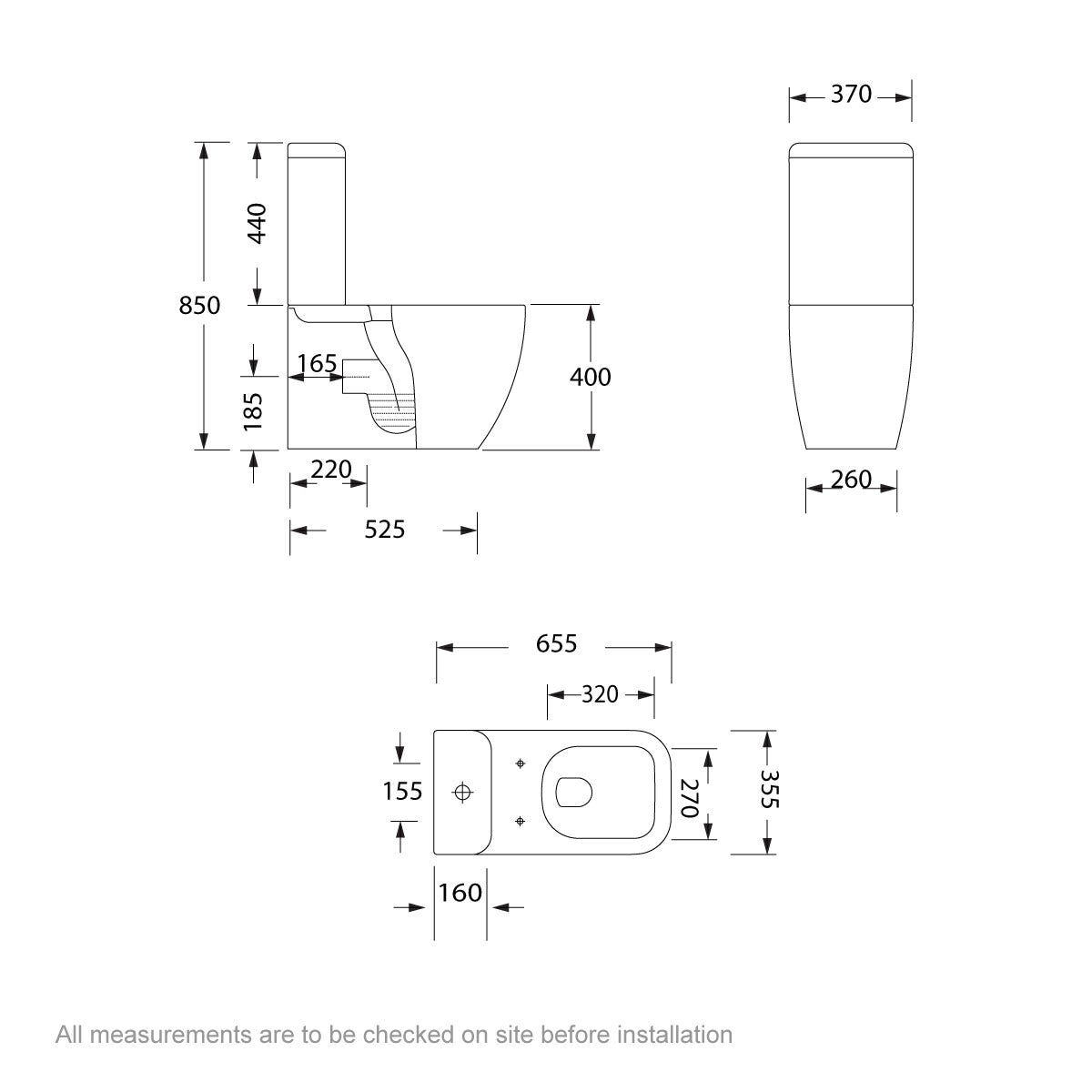 Dimensions for Mode Ellis close coupled toilet with soft close seat