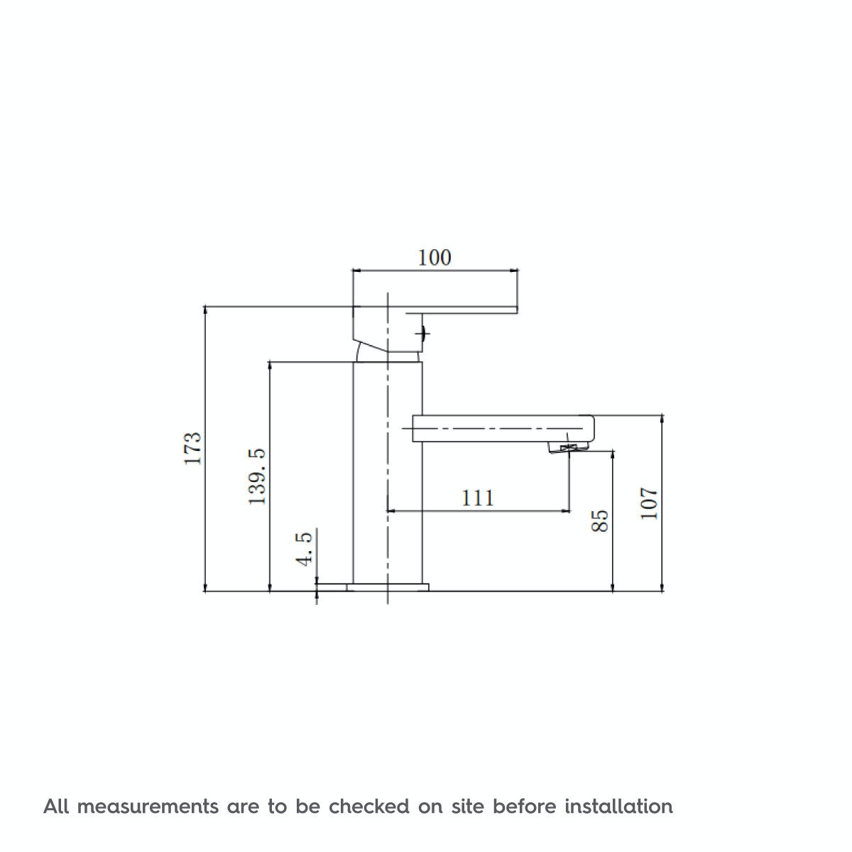 Dimensions for Orchard Quartz basin mixer tap