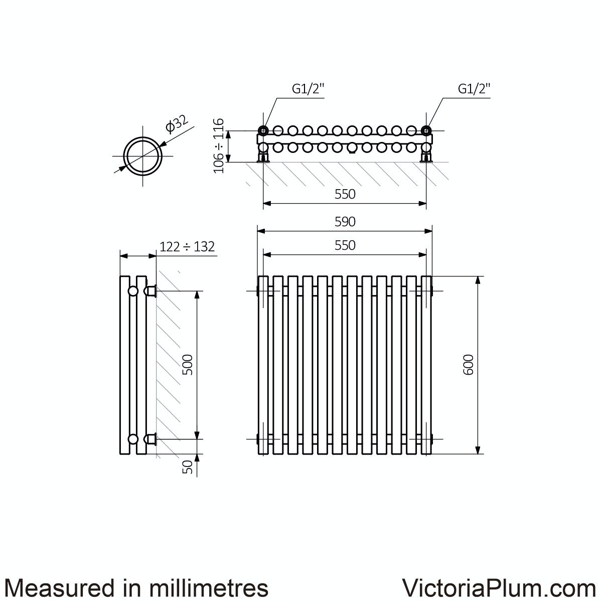 Dimensions for Terma Tune matt nickel double horizontal radiator 600 x 590