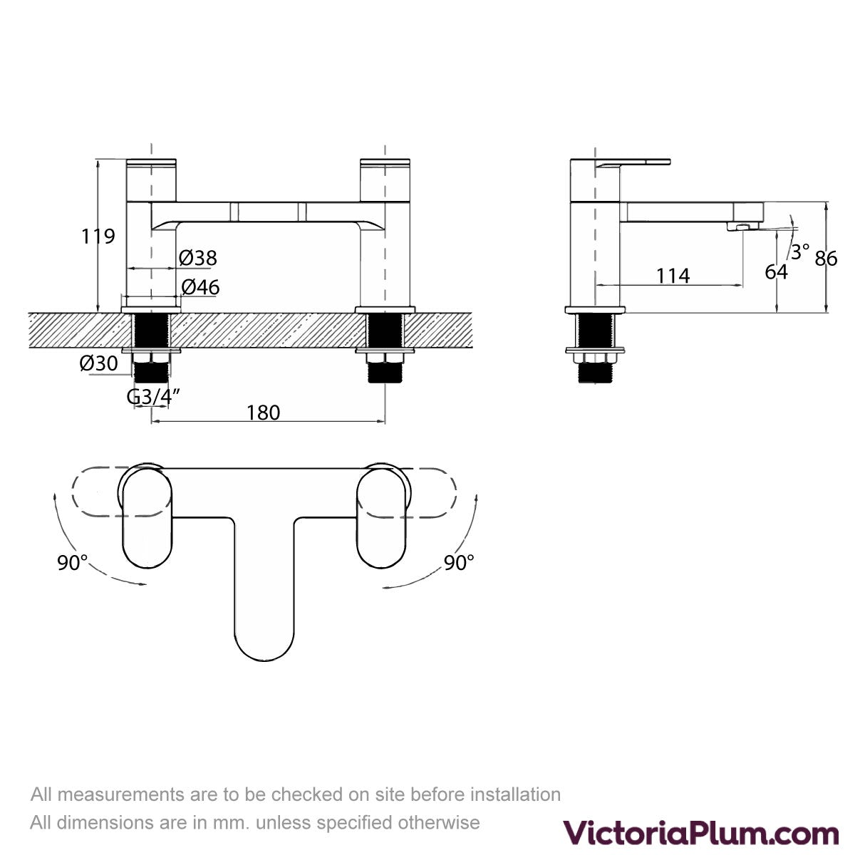 Dimensions for Kirke Curve bath mixer tap
