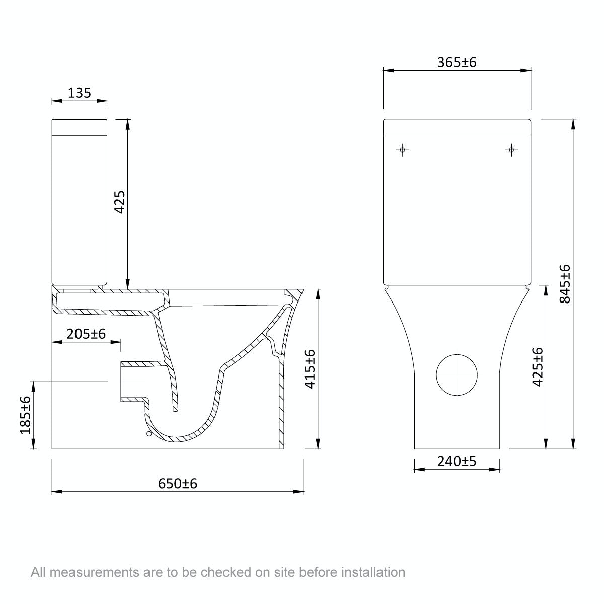 Dimensions for Mode Hardy rimless close coupled toilet with slimline soft close seat
