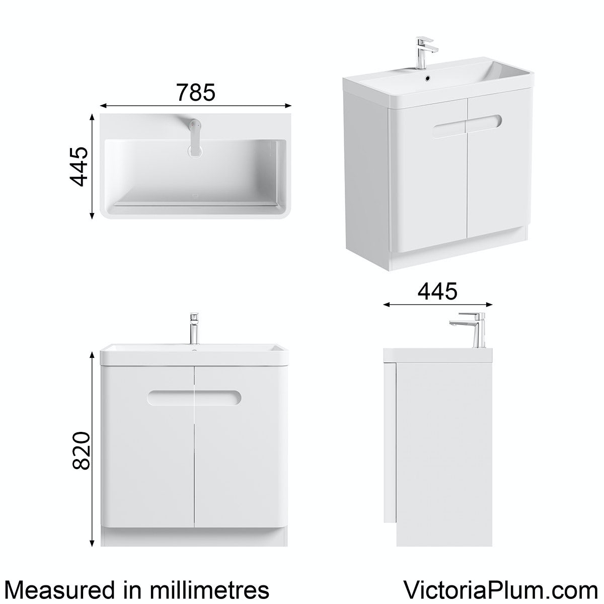 Dimensions for Mode Ellis white vanity door unit and basin 800mm
