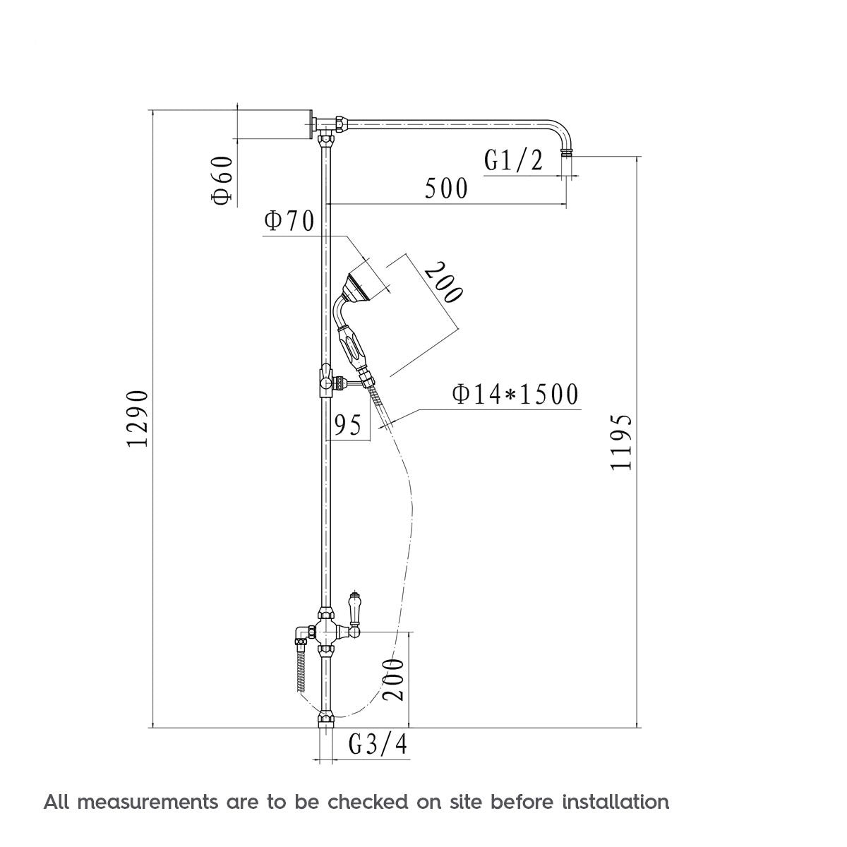 Dimensions for The Bath Co. Winchester dual valve shower bath system