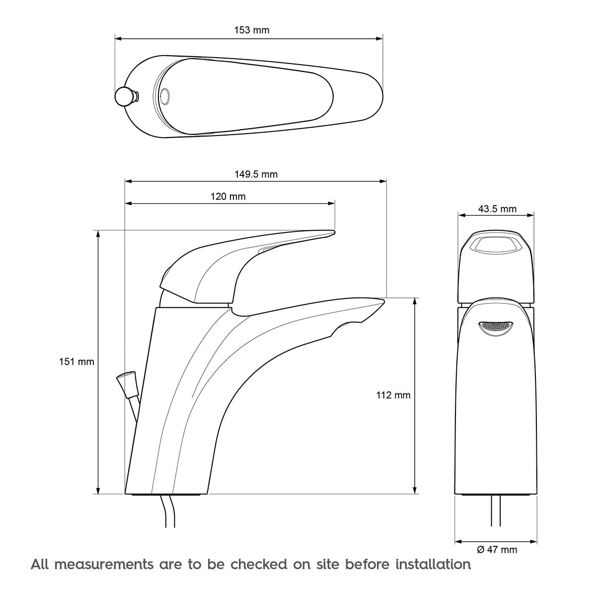 Technical drawing for Mira Comfort basin taps