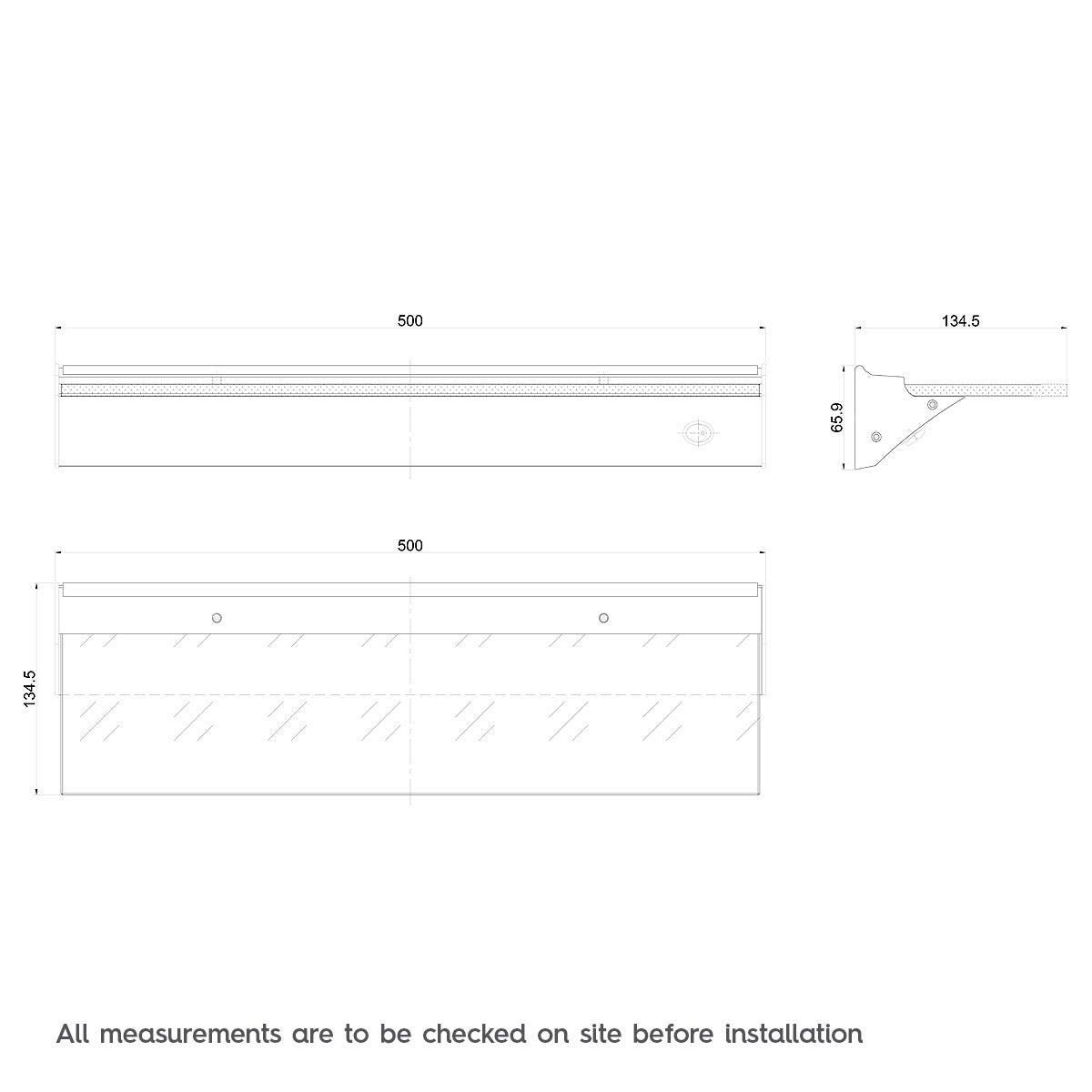Dimensions for Mode LED glass shelf light 135mm