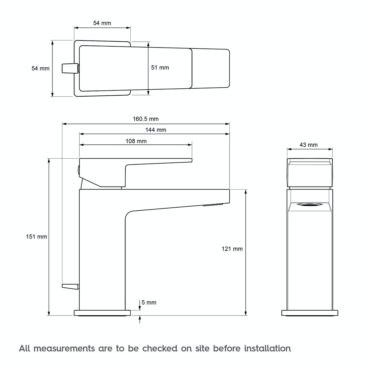 Technical drawing for Mira Honesty basin mixer tap