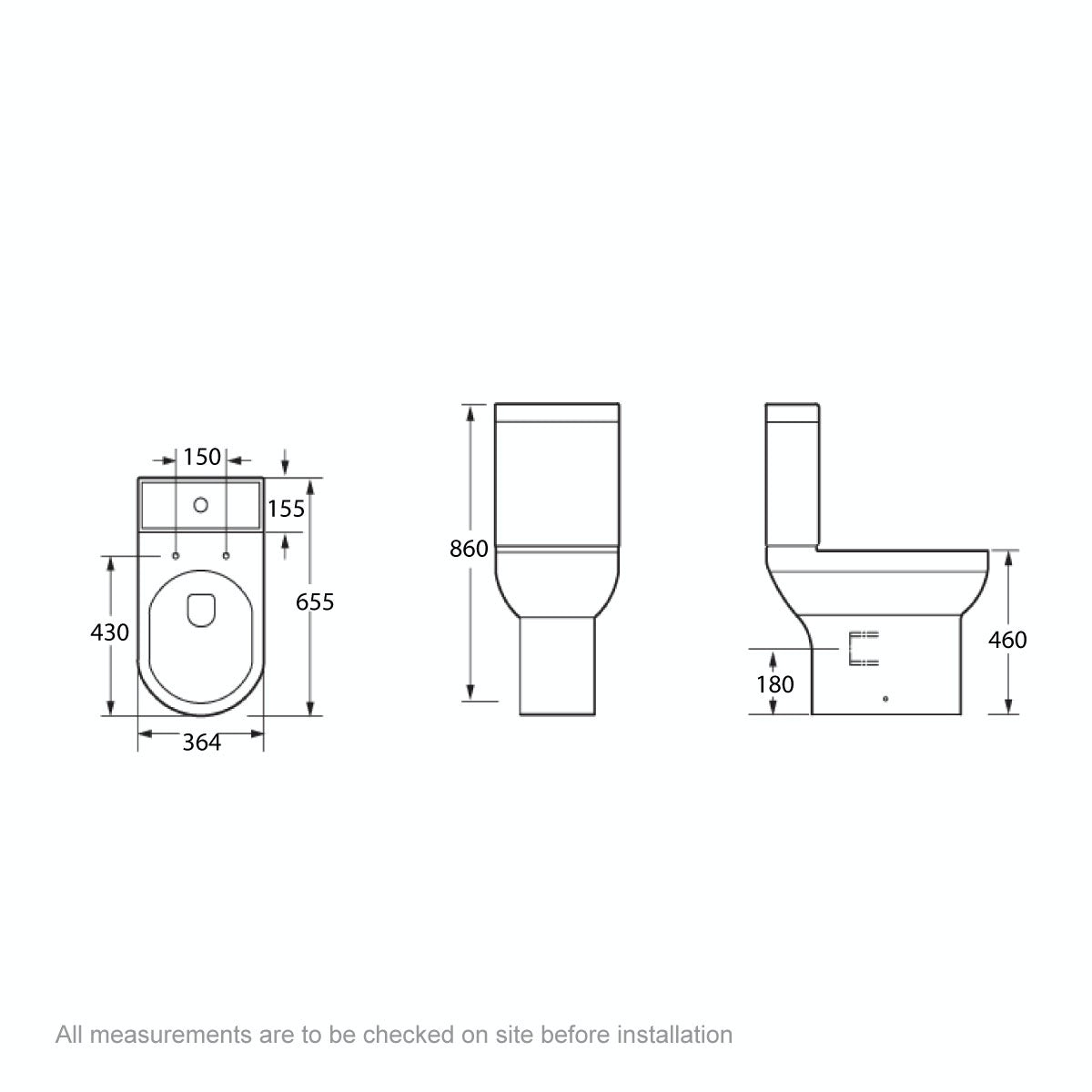 Dimensions for Orchard Wharfe comfort height close coupled toilet with soft close toilet seat