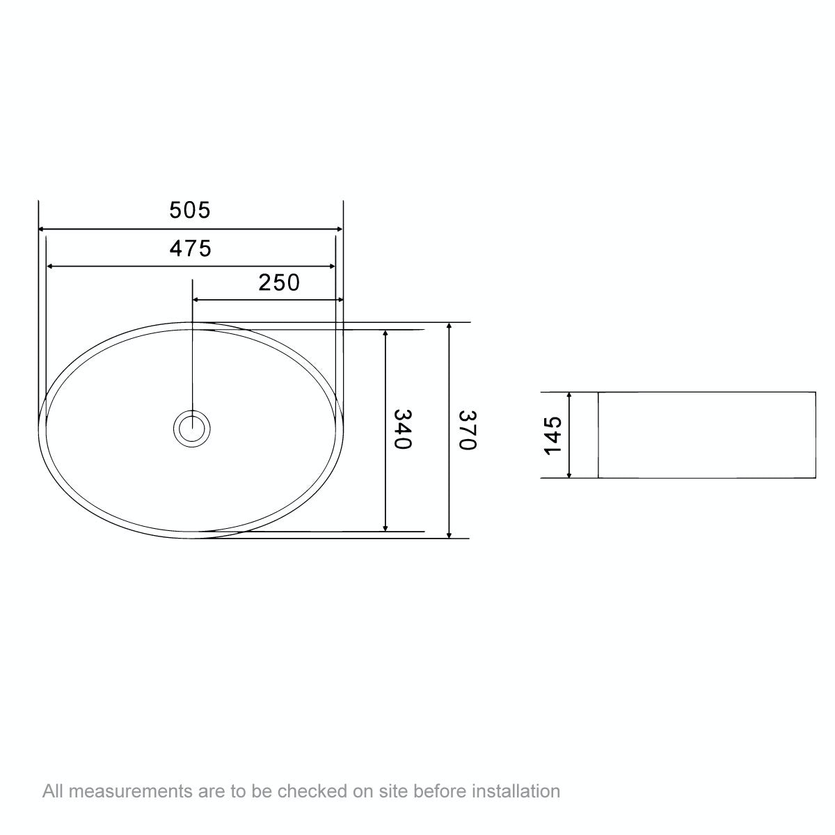 Dimensions for Mode Hardy countertop basin