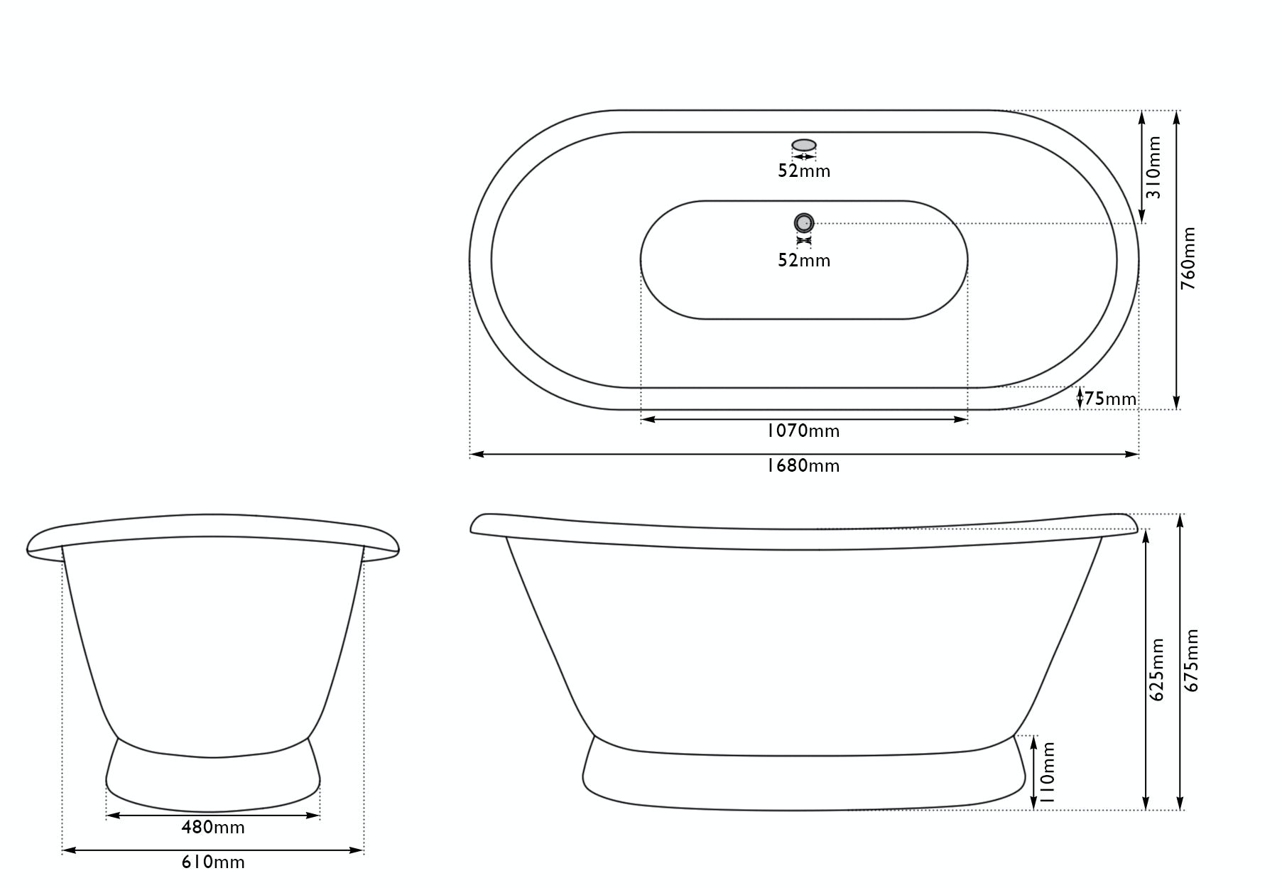 Dimensions for The Bath Co. Stirling keystone grey cast iron bath