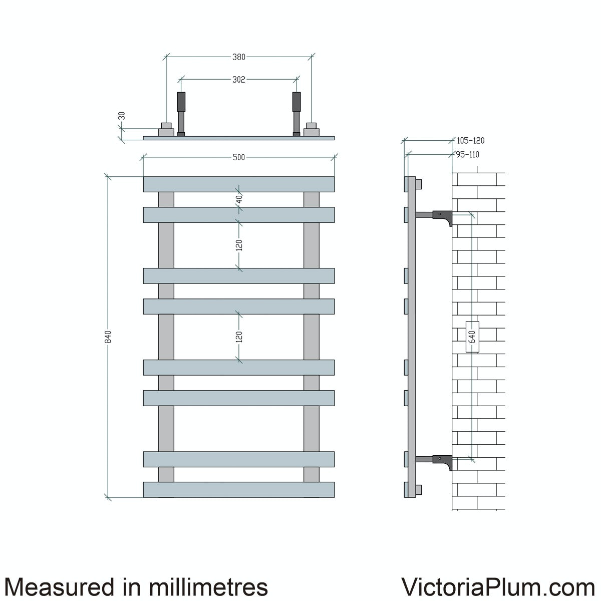 Dimensions for Mode Daisy 8 bar heated towel rail 840 x 500