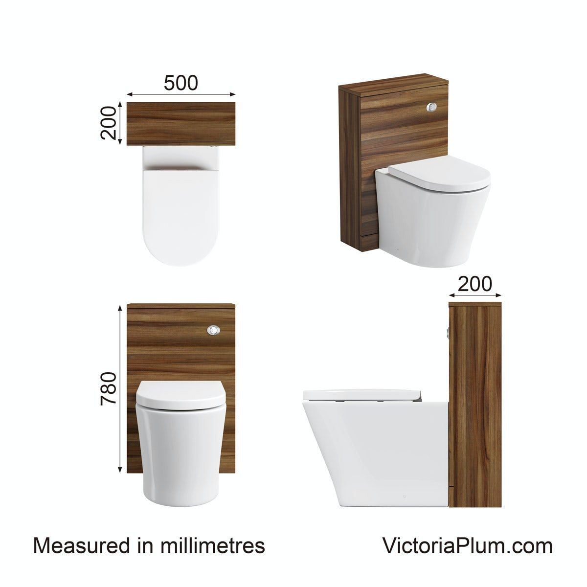 Dimensions for Clarity walnut back to wall toilet unit