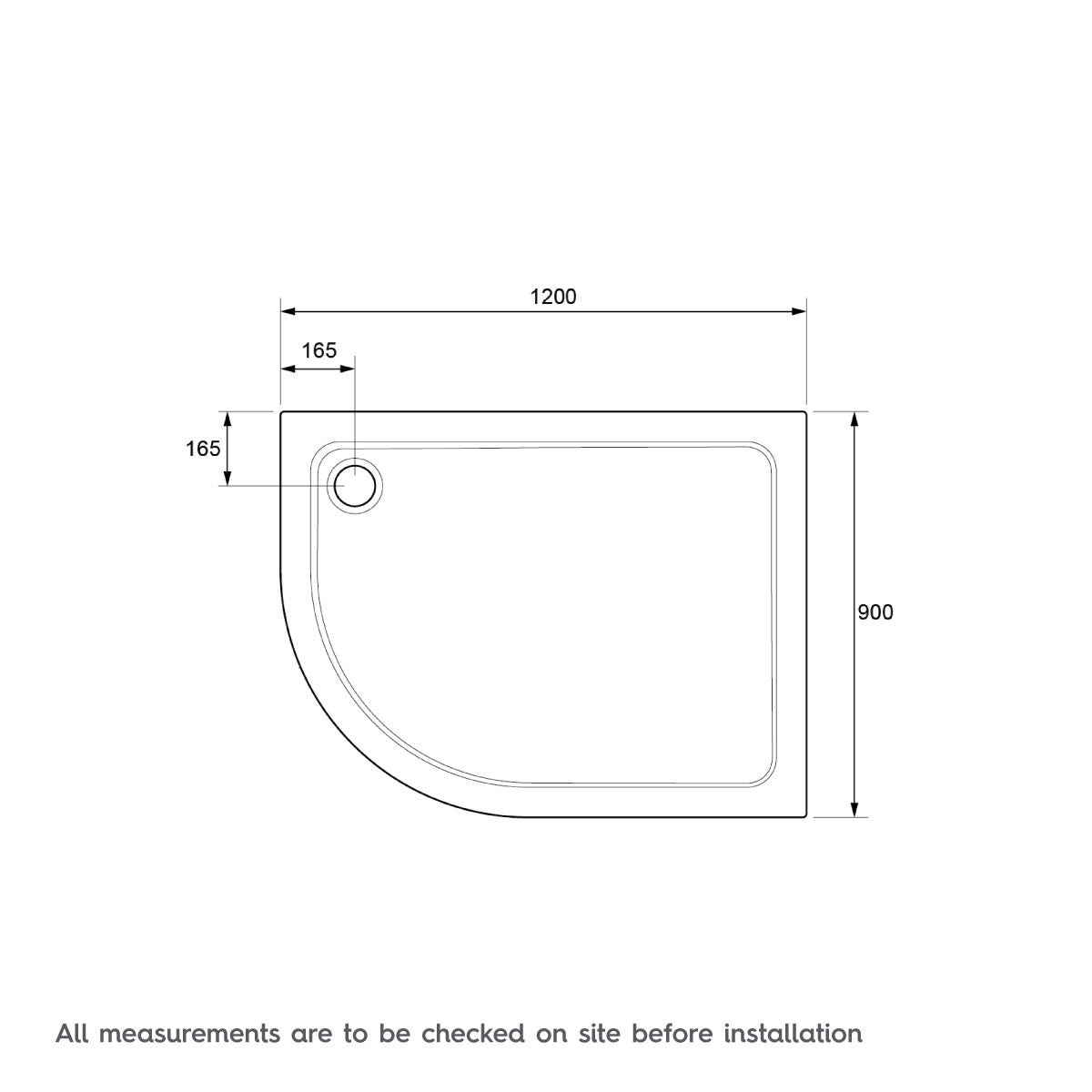 Dimensions for Mira Flight Safe low level anti-slip right handed quadrant shower tray 1200 x 900