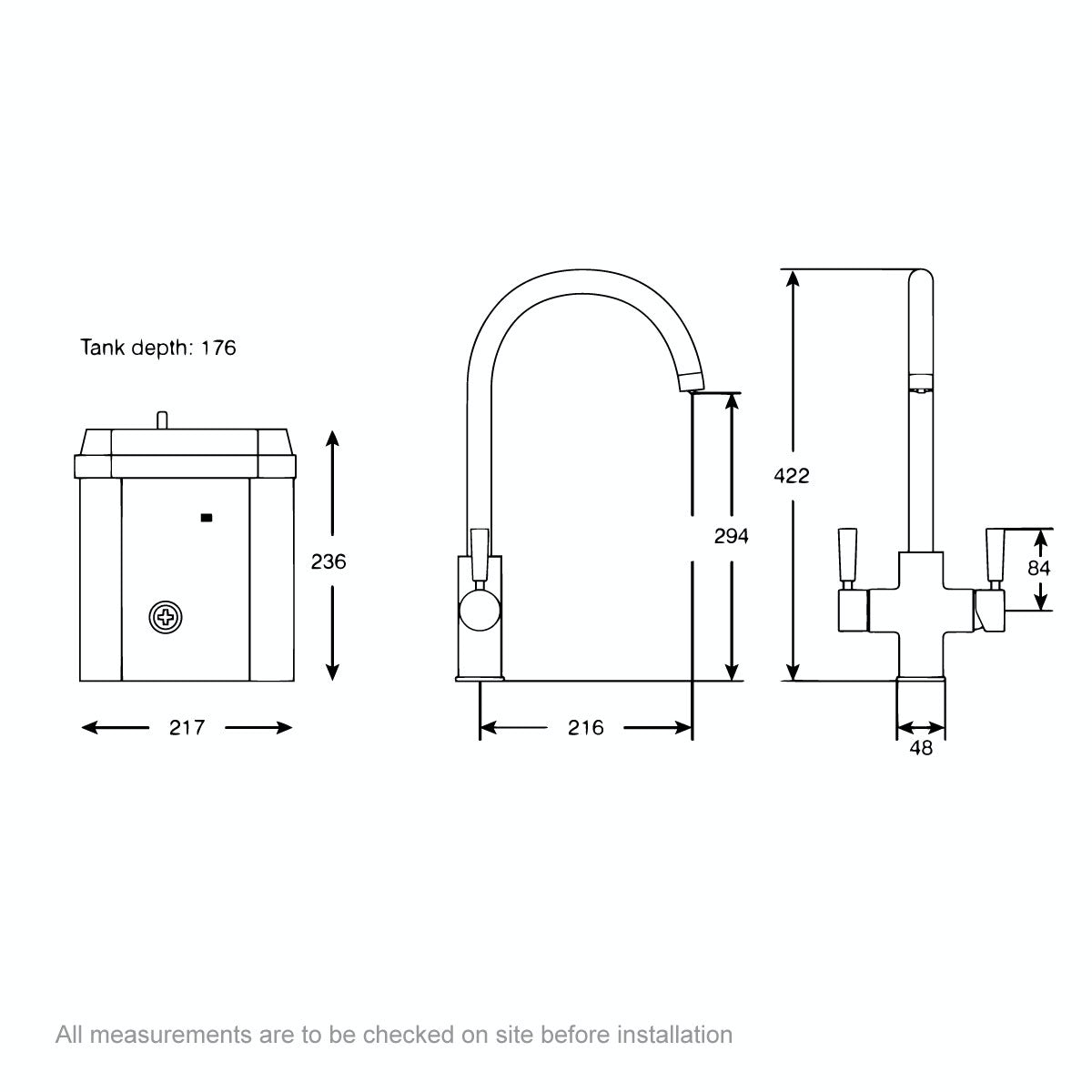 Dimensions for Redring Reditap 3 in 1 boiling water tap