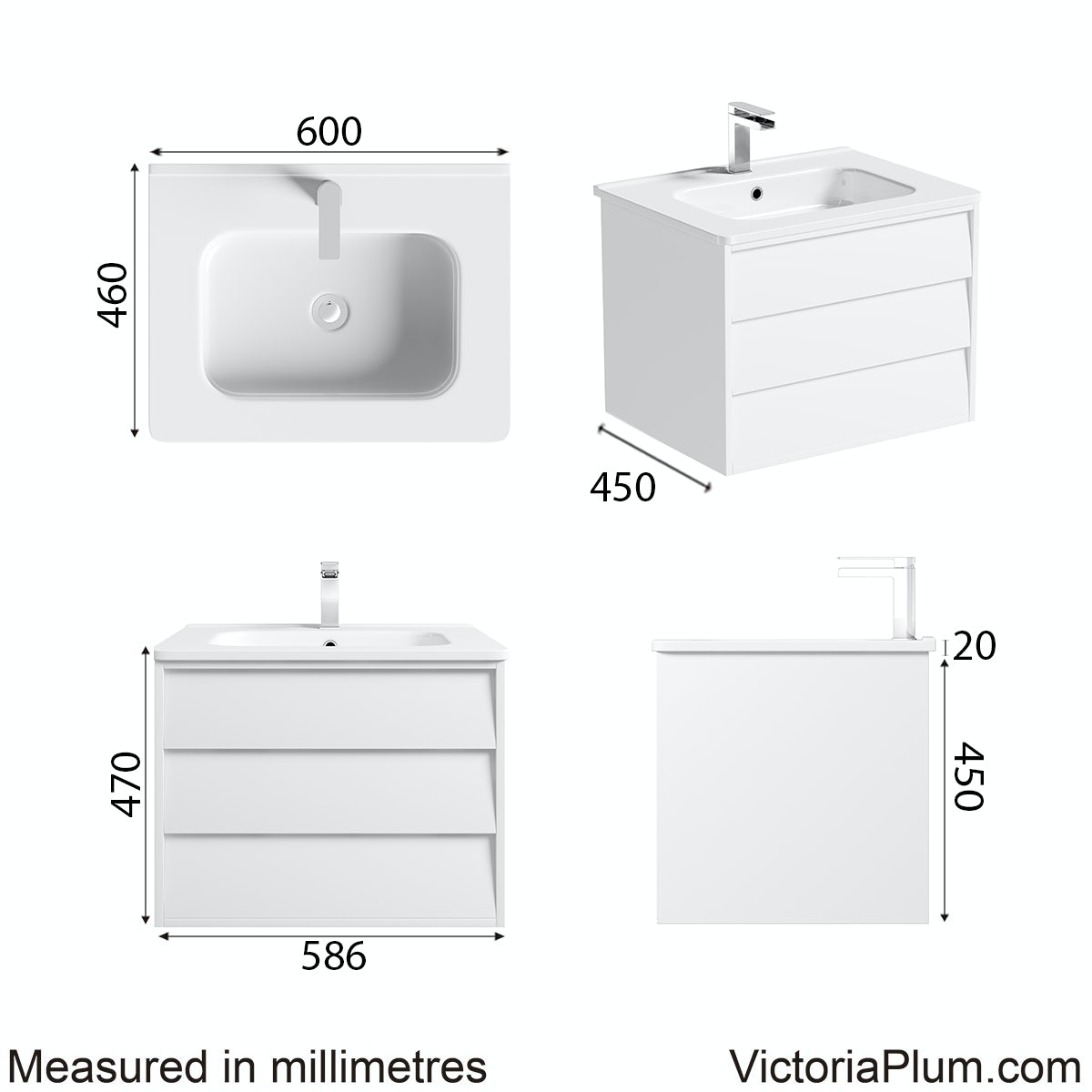 Dimensions for Mode Cooper white wall hung vanity unit and basin 600mm