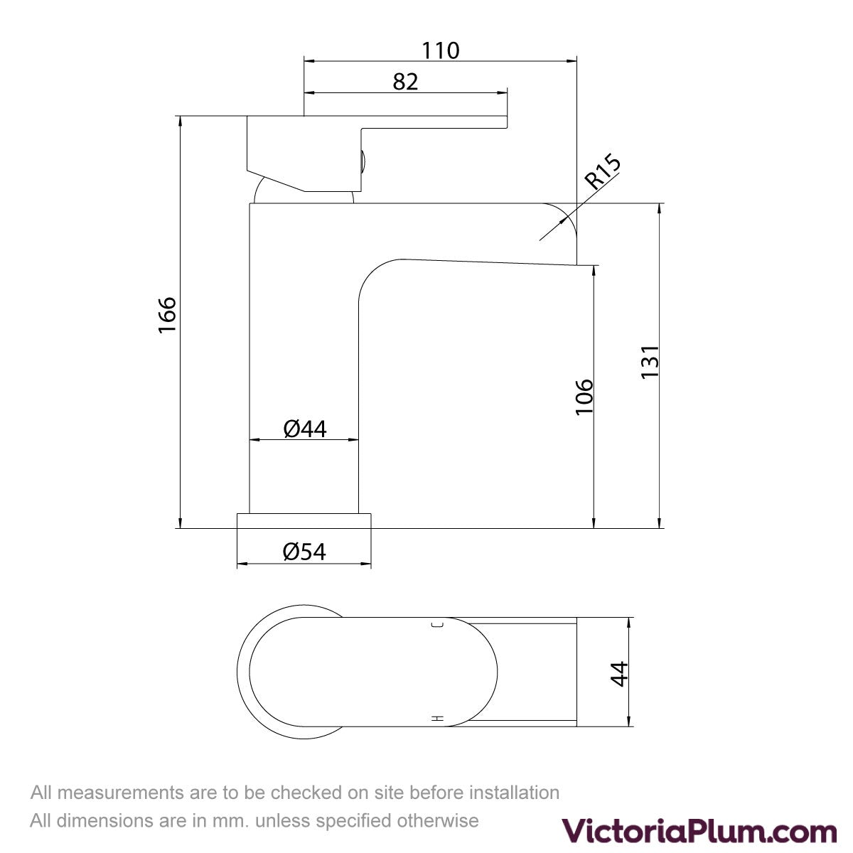 Dimensions for Orchard Eden waterfall basin mixer tap