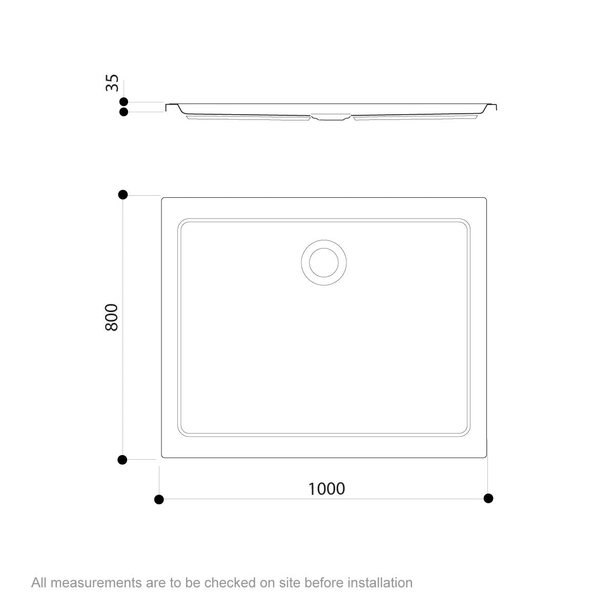 Dimensions for Jacuzzi Essentials matt white acrylic shower tray 1000 x 800