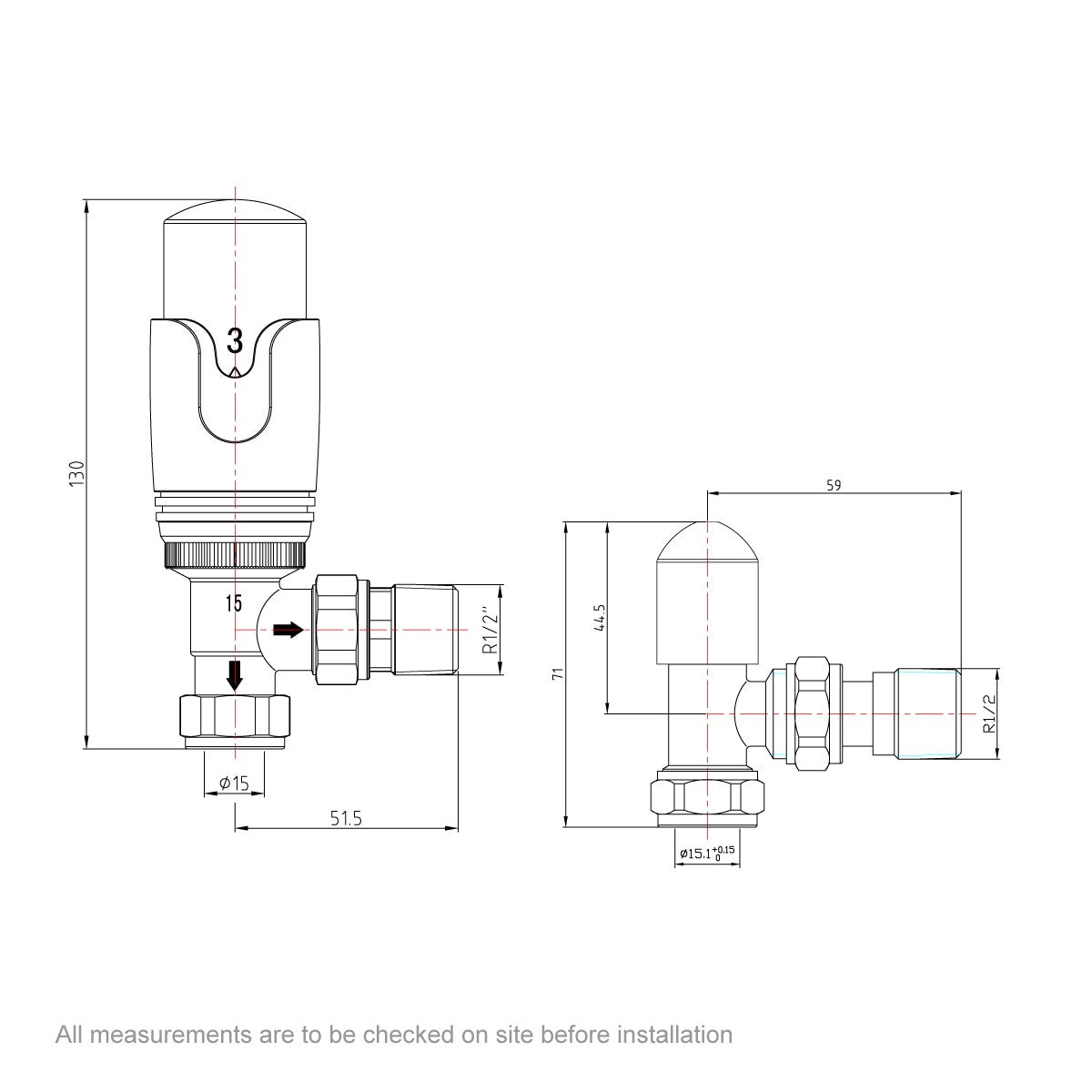 Dimensions for Orchard Thermostatic chrome angled radiator valves
