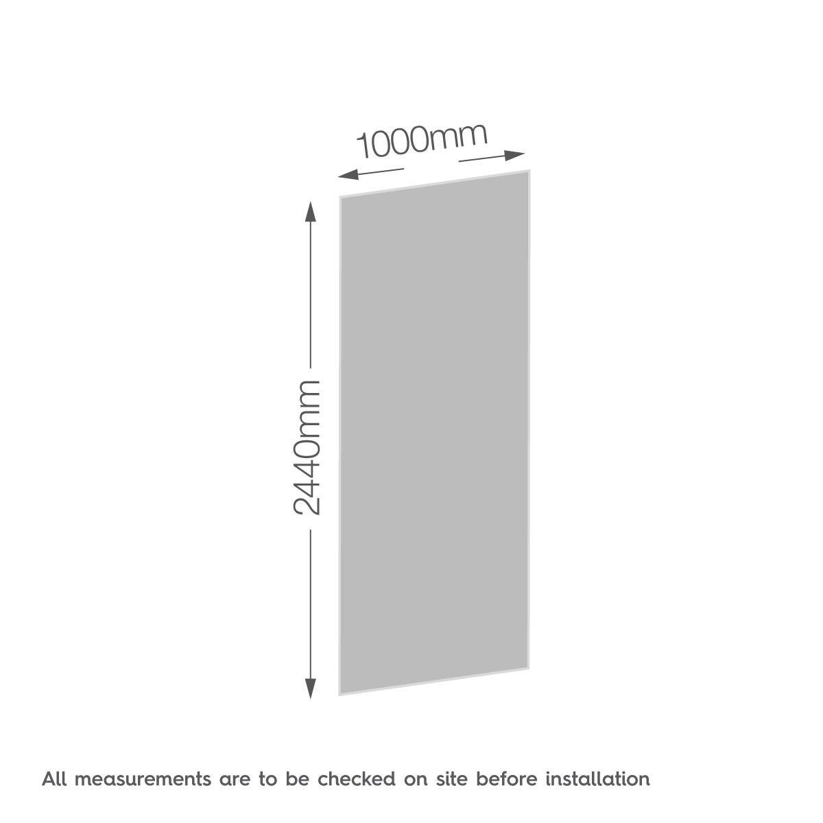 Dimensions for Zenolite plus stone acrylic shower wall panel 2440 x 1000