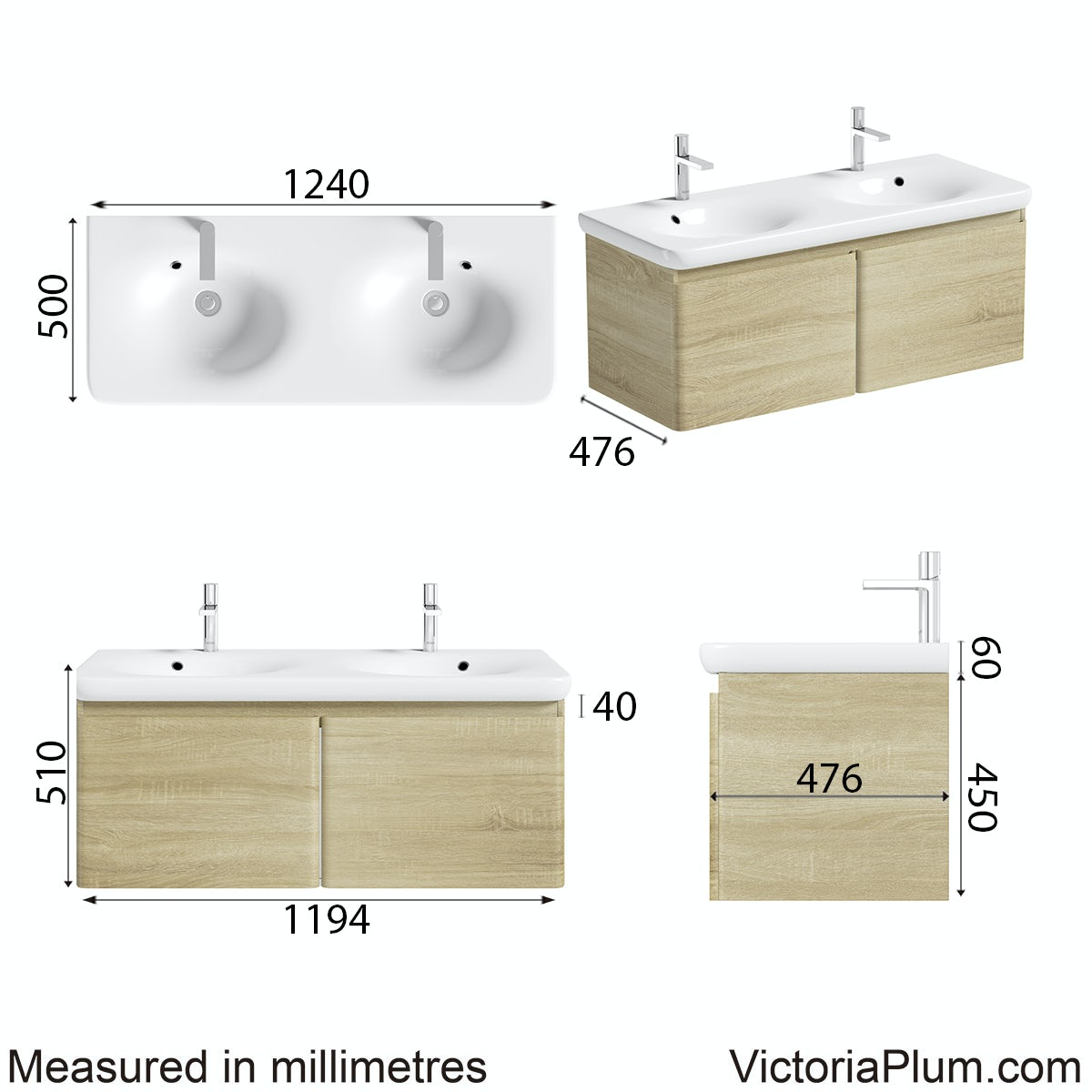 Dimensions for Mode Heath oak wall hung vanity unit and basin 1200mm