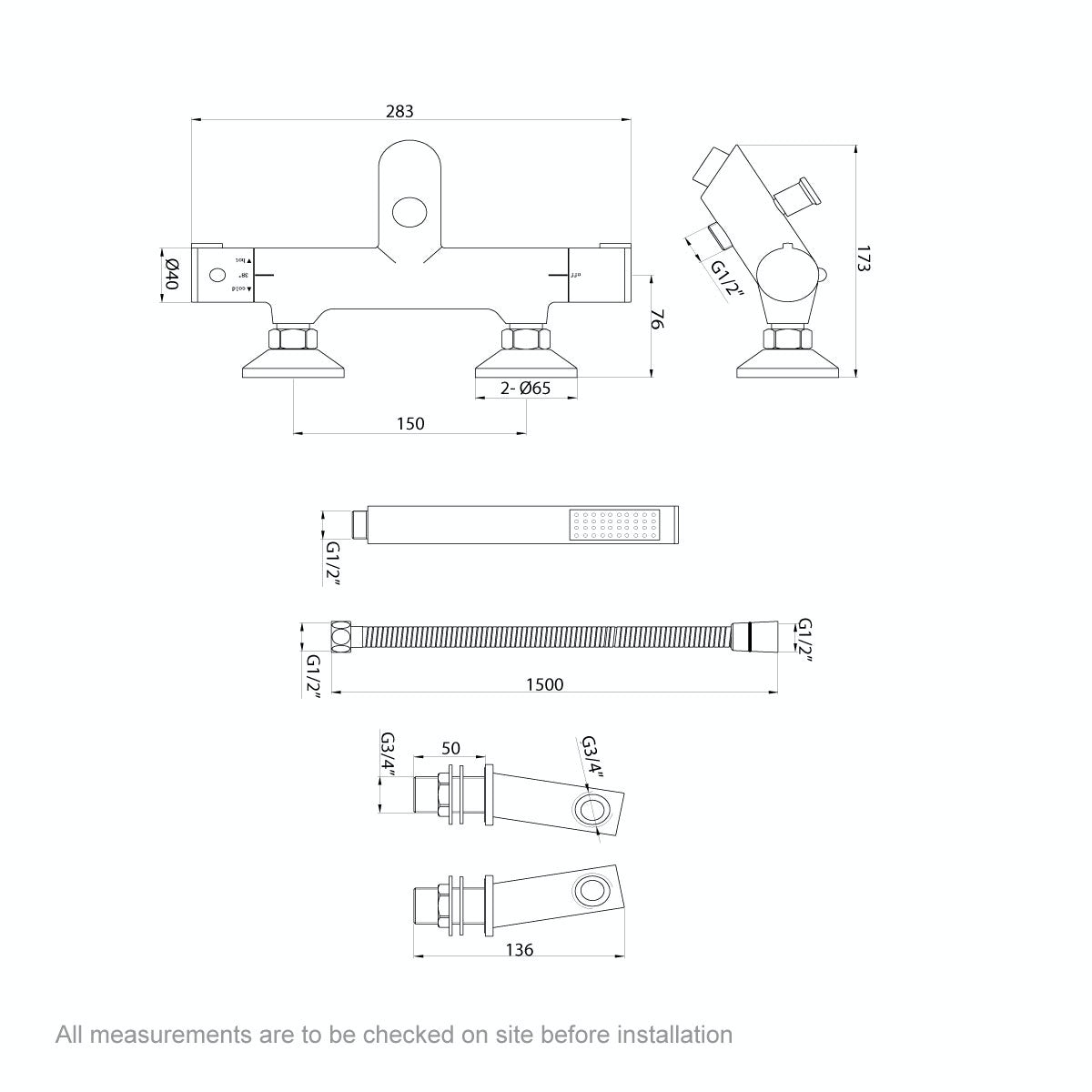 Dimensions for Orchard Wall or deck mount thermostatic bath shower mixer tap