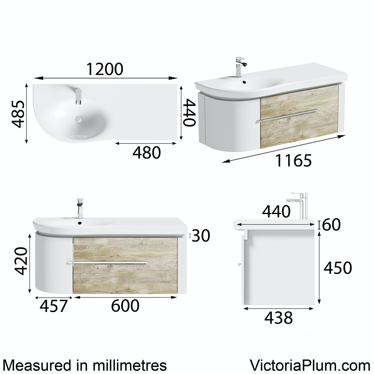 Dimensions for Mode Burton white & rustic oak wall hung vanity unit and basin 1200mm