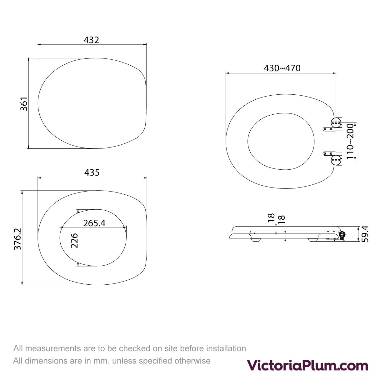 Dimensions for Sandy shells acrylic toilet seat with soft close quick release hinge