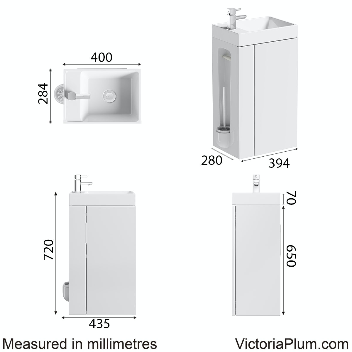 Dimensions for Compact white vanity unit with toilet roll holder & brush