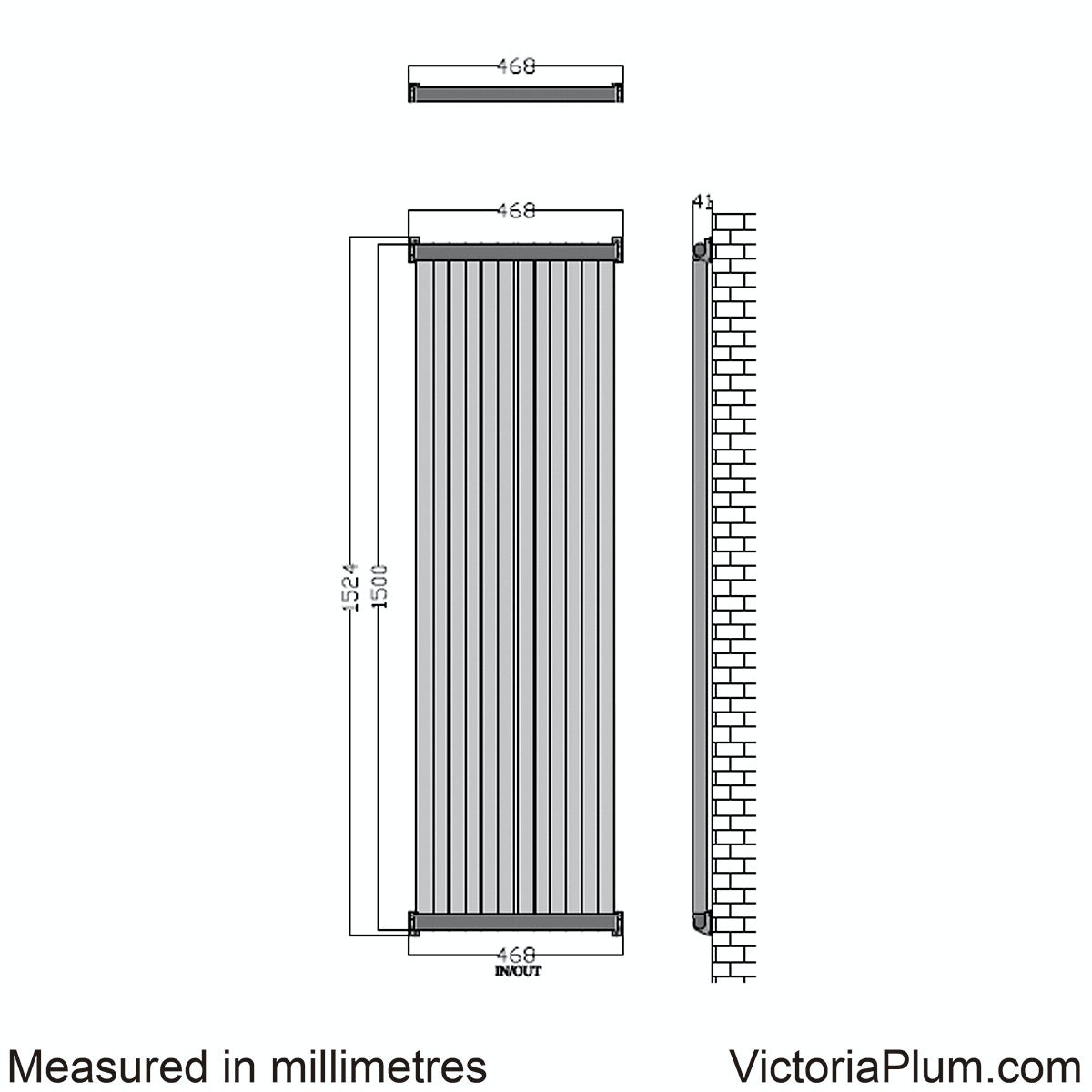 Dimensions for Mode Zephyra vertical radiator 1500 x 468