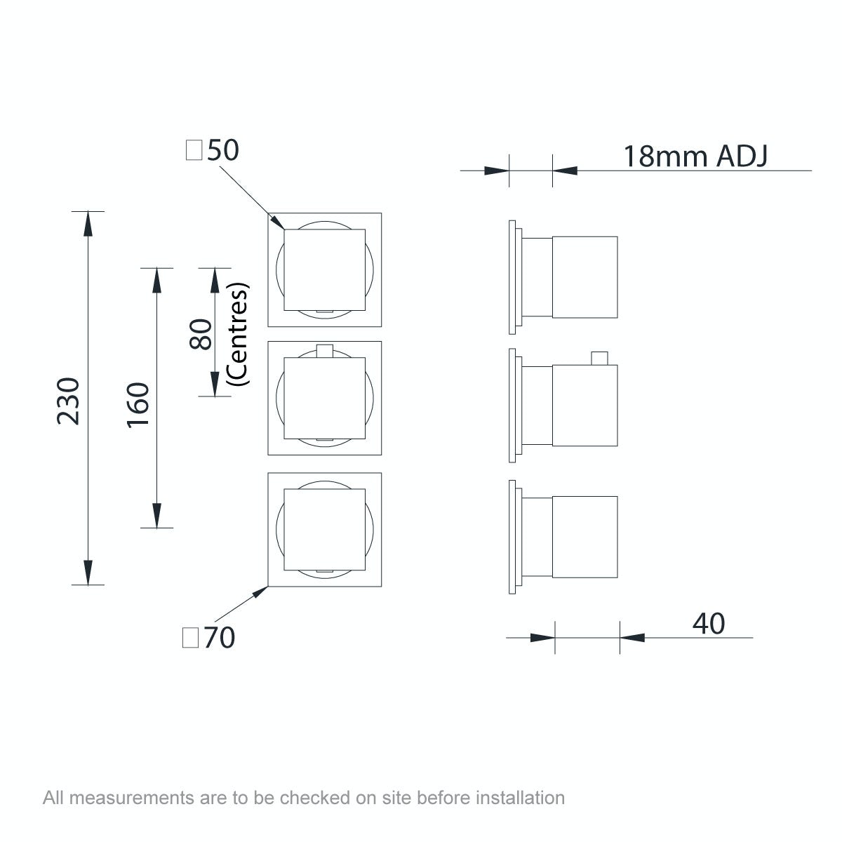 Dimensions for Mode Cooper square triple thermostatic shower valve with diverter