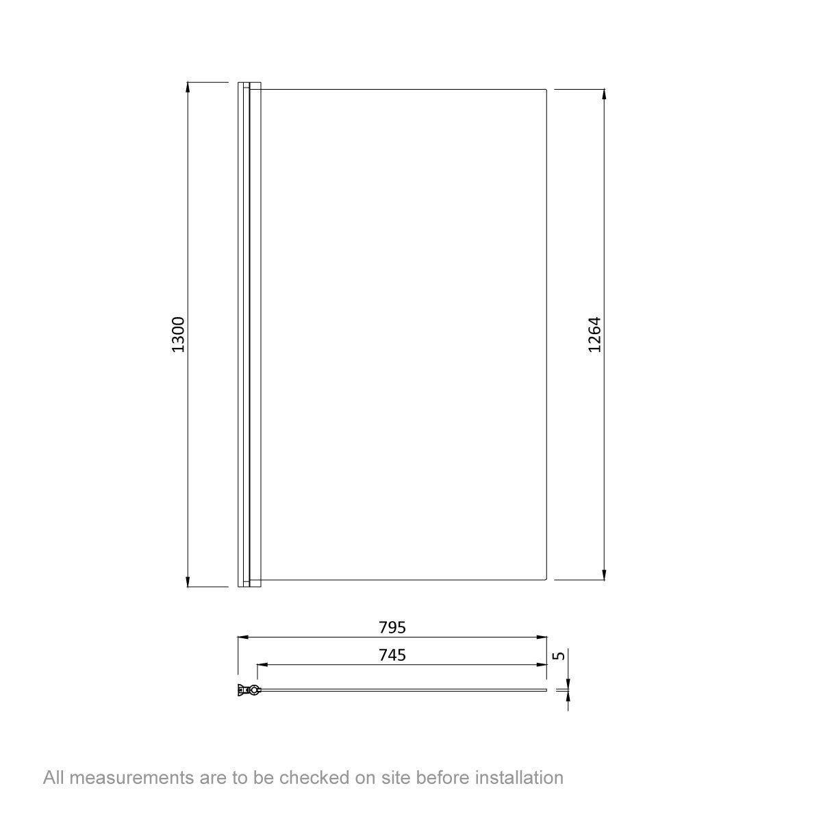 Dimensions for Orchard 5mm hinged single straight shower bath screen