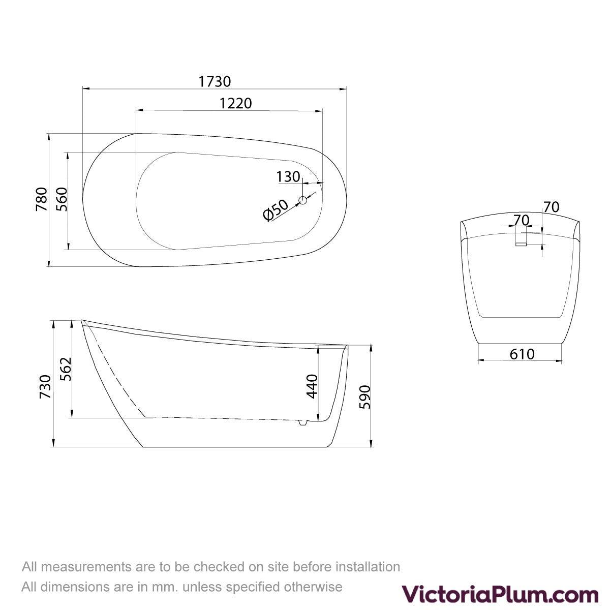 Dimensions for Belle de Louvain Camesi bath