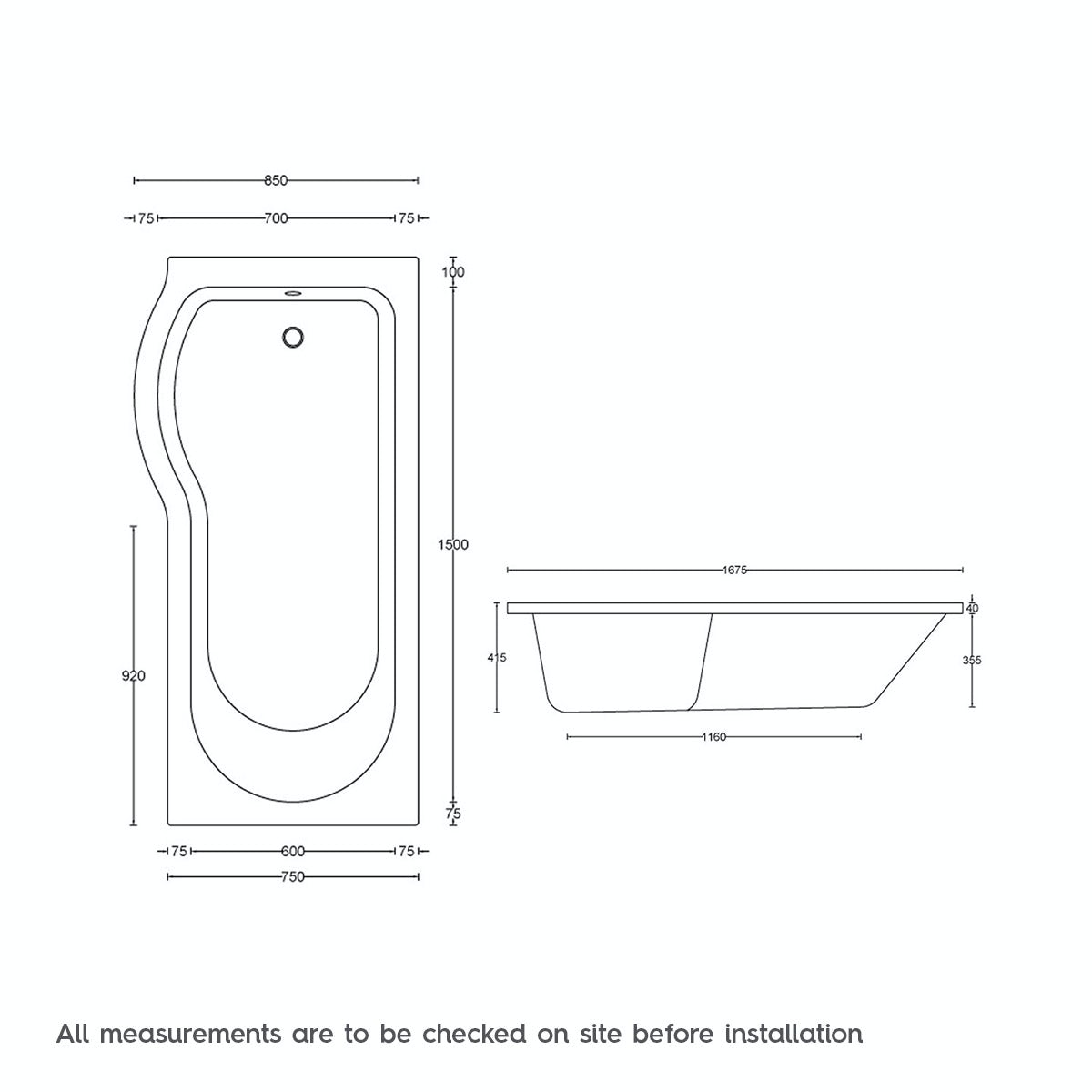 Dimensions for P shaped left handed 12 jet whirlpool shower bath with front panel and screen