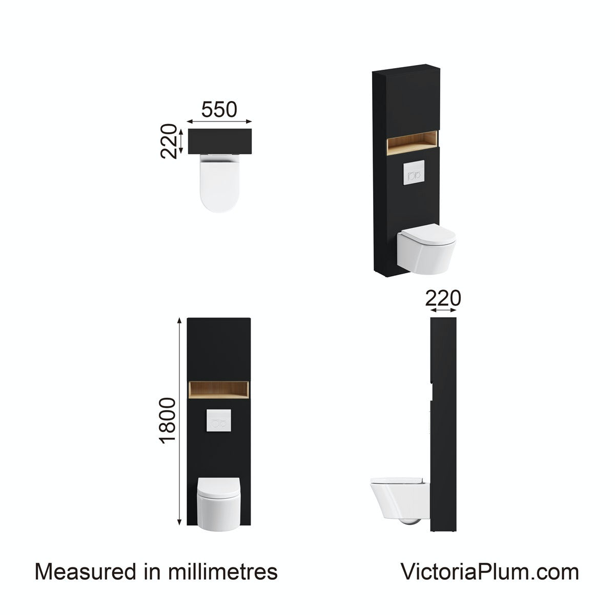 Dimensions for Mode Tate anthracite & oak tall toilet unit