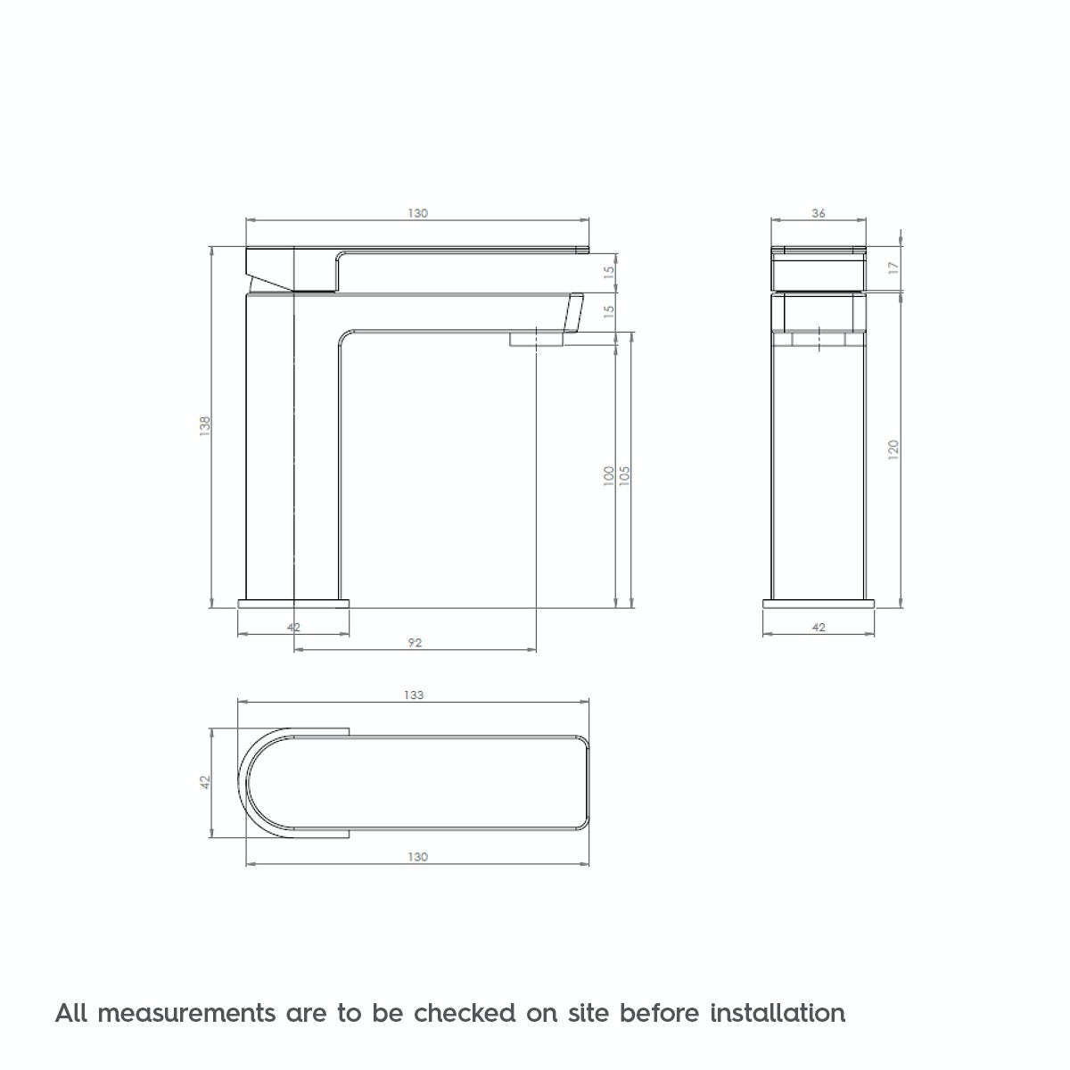 Dimensions for Mode Ellis basin mixer tap