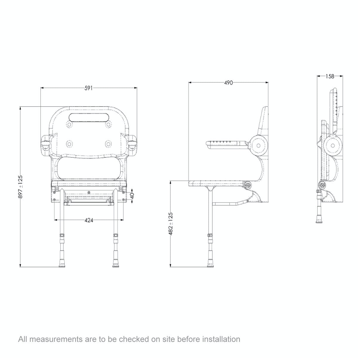 Dimensions for AKW 2000 series folding shower seat with back and arms and grey pad