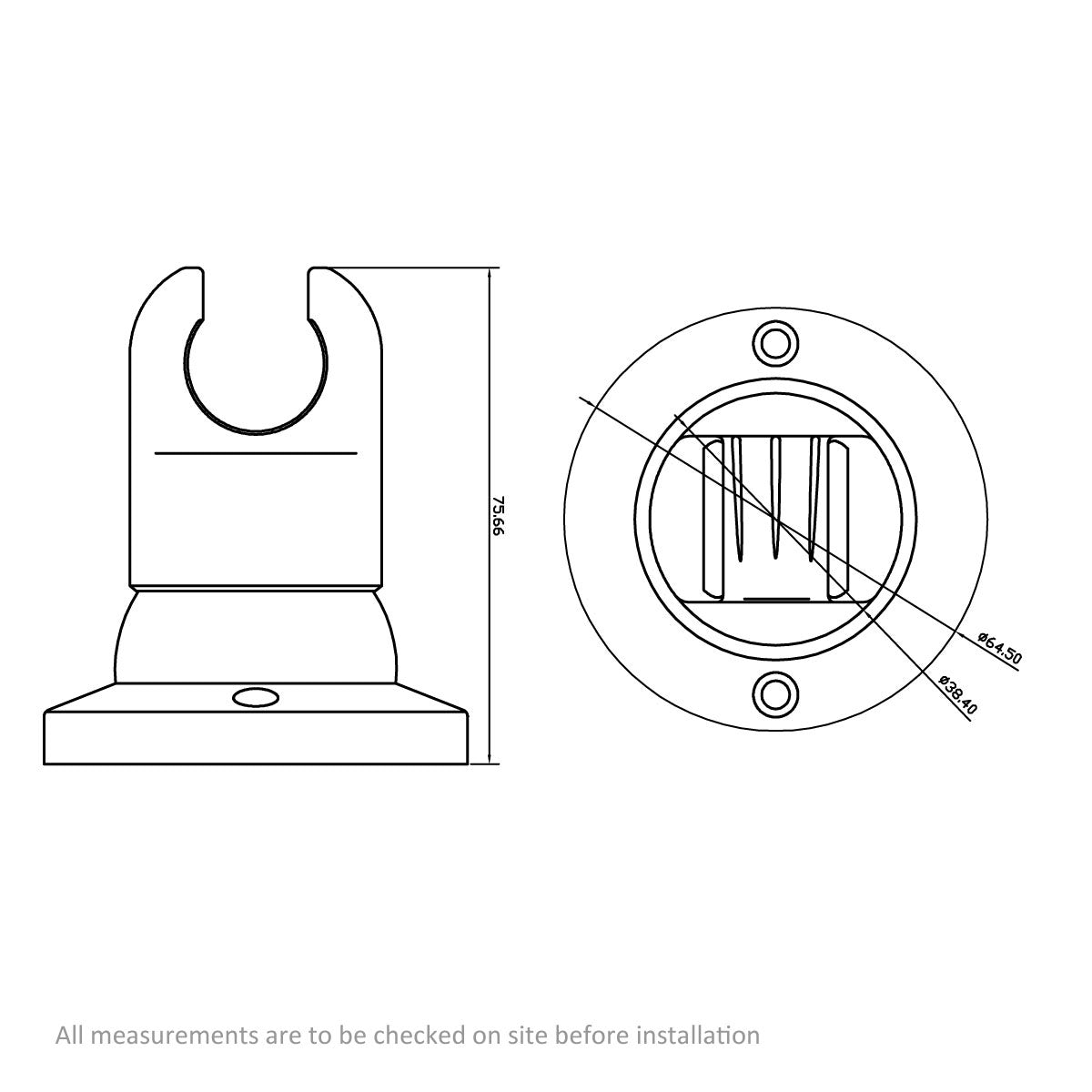 Dimensions for Orchard Round wall hand shower holder