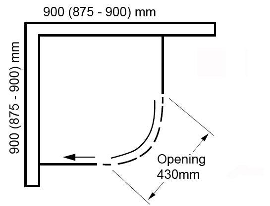 Dimensions for Mode 8mm luxury black quadrant shower enclosure 900 x 900