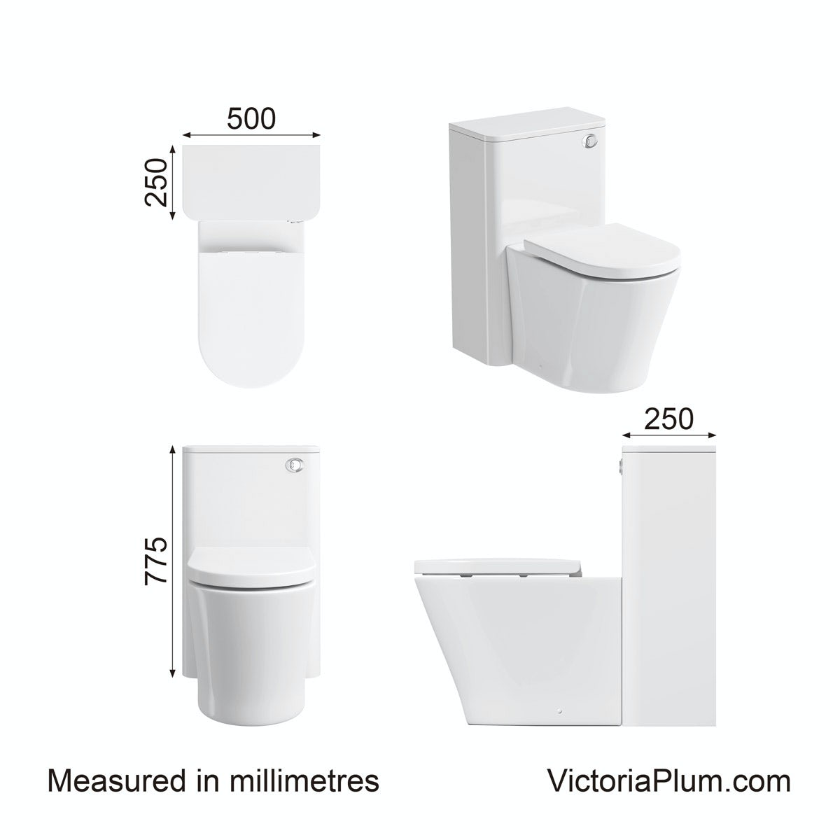 Dimensions for Mode Carter ice white back to wall toilet unit