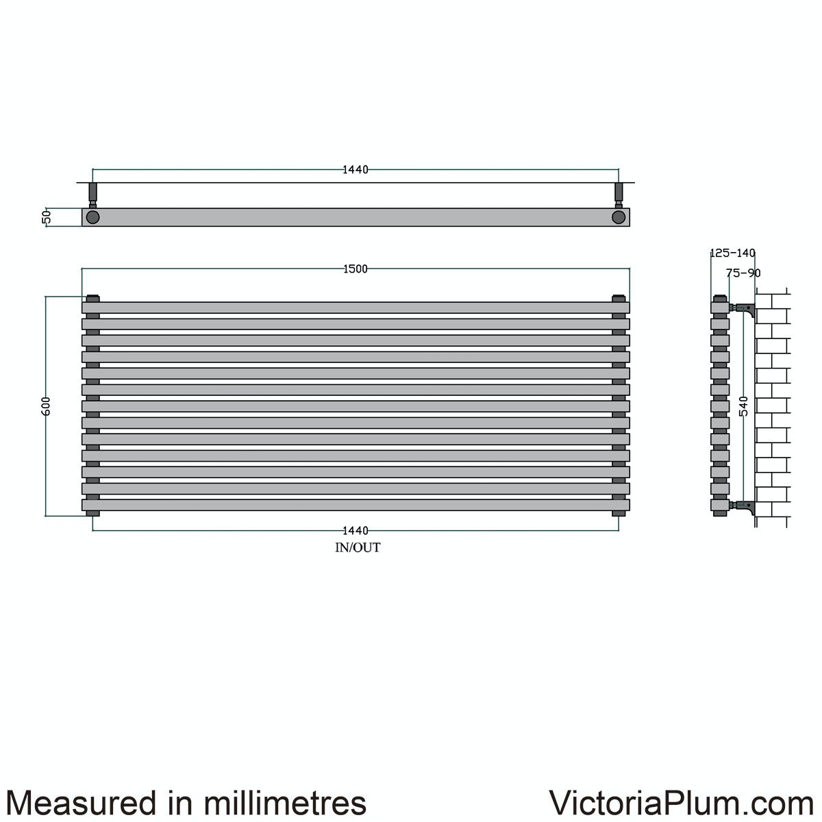 Dimensions for Mode Cadence horizontal radiator 600 x 1500