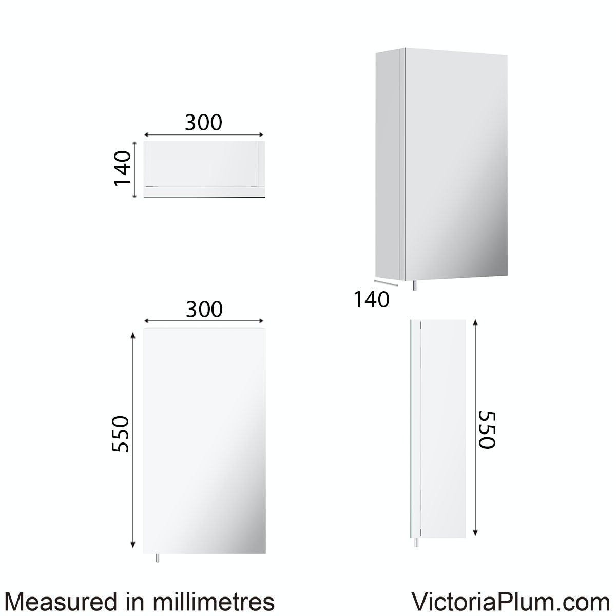 Dimensions for Orchard Reflex white steel mirror cabinet 550 x 300mm