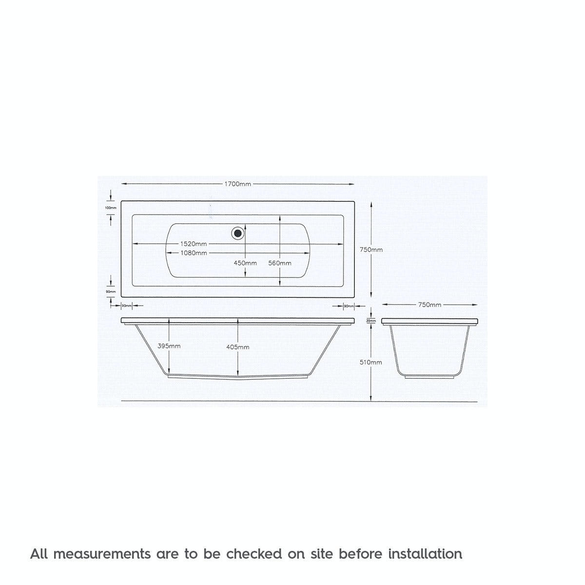Dimensions for Mode Chelsea double end 12 jet whirlpool bath 1700 x 750