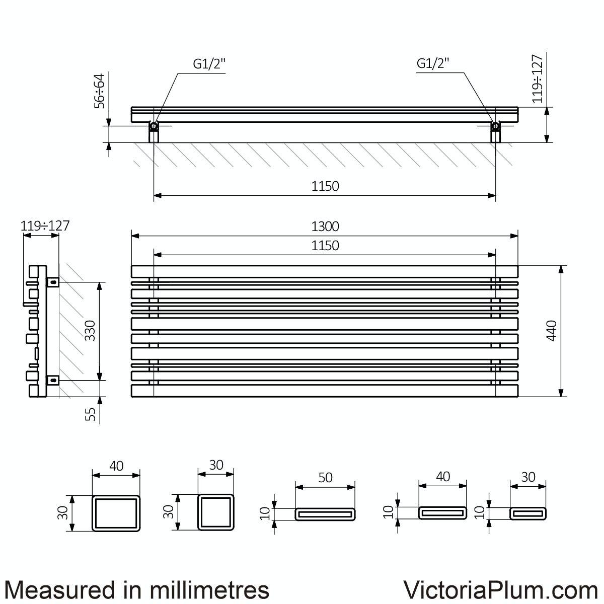 Dimensions for Terma Sherwood terra brown horizontal radiator 440 x 1300