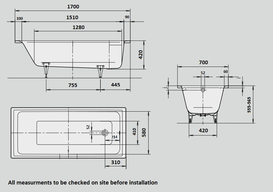 Dimensions for Kaldewei Puro straight steel bath with leg set 1700 x 700 with no tap holes