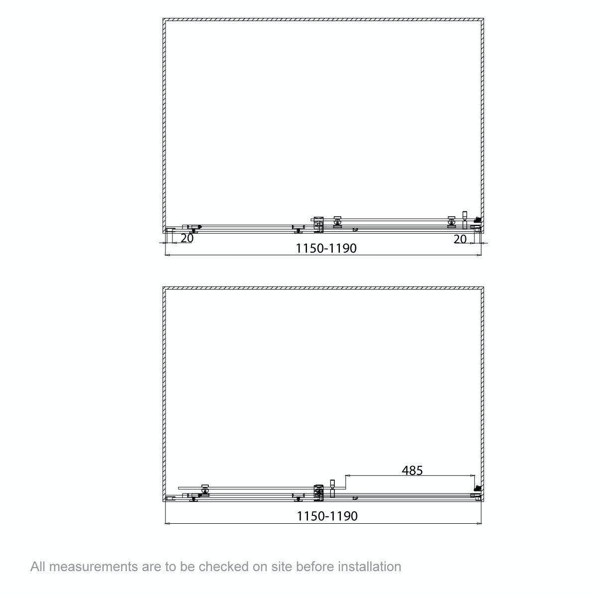 Dimensions for 1200mm