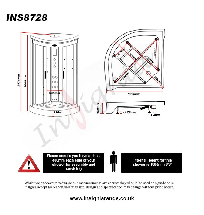 Dimensions for Insignia quadrant steam shower cabin 1000 x 1000